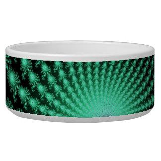 Green Fractal Islands on Black - abstract art Pet Water Bowls