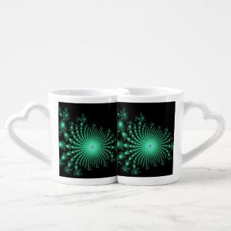 Green Fractal Islands on Black - abstract art Lovers Mug