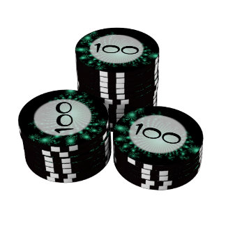 Green Fractal Islands on Black - abstract art Poker Chips Set