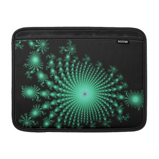 Green Fractal Islands on Black - abstract art Sleeve For MacBook Air