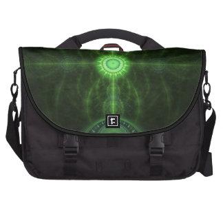 Green Fractal Patern Laptop Bag