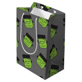 Green Frankenstein heads pattern Halloween Medium Gift Bag
