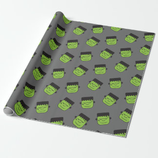 Green Frankenstein heads pattern Halloween Wrapping Paper