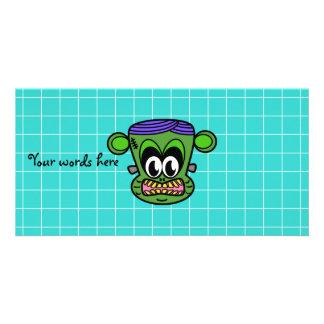 Green Frankenstein monkey on blue tile Personalized Photo Card