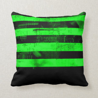 Green Freedom Of Speech Grunge Stripes Pillow Throw Cushions
