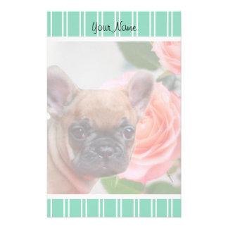 Green French Bulldog puppy stationary Stationery Paper
