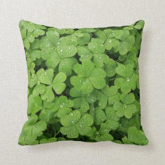 Green fresh shamrock, lucky St. Patricks pillow