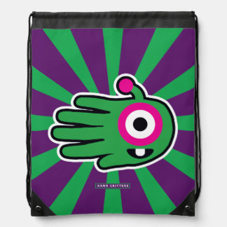 Green Friendly Alien Baby Tooth Cinch Bags