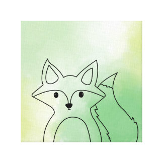 Green Friendly Fox Canvas Print