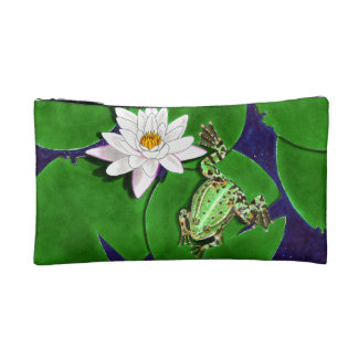 Green Frog and Water Lily Cosmetic Bag
