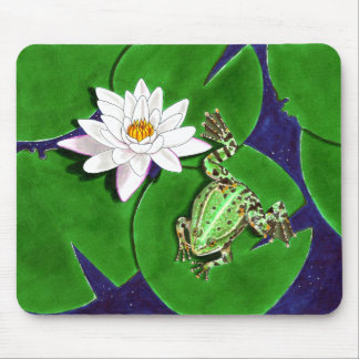 Green Frog and Water Lily Mousepad