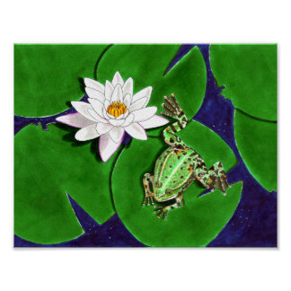 Green Frog and Water Lily Poster