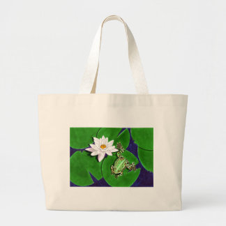 Green Frog and Water Lily Tote