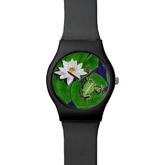 Green Frog and Water Lily Watch