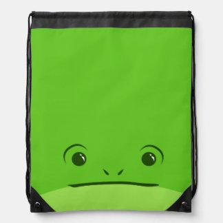 Green Frog Cute Animal Face Design Drawstring Bags