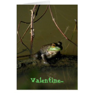 Green Frog Funny Valentine Card
