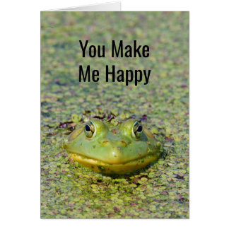Green frog in duckweed, Canada Card