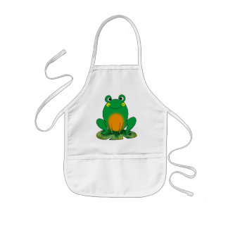 Green frog kids apron