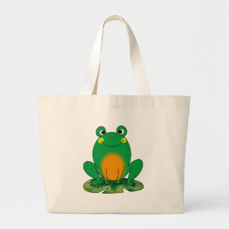 Green frog large tote bag