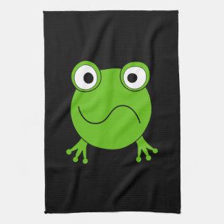 Green Frog. Looking confused. Tea Towel