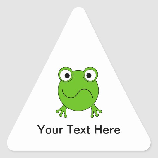 Green Frog. Looking confused. Triangle Sticker