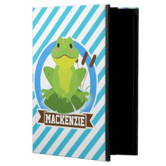 Green Frog on Lilypad; Blue & White Stripes iPad Air Covers