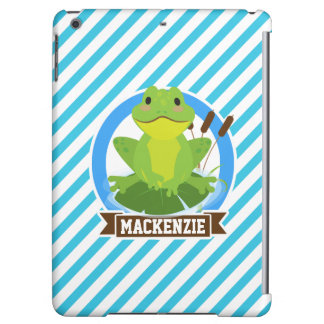 Green Frog on Lilypad; Blue & White Stripes iPad Air Case