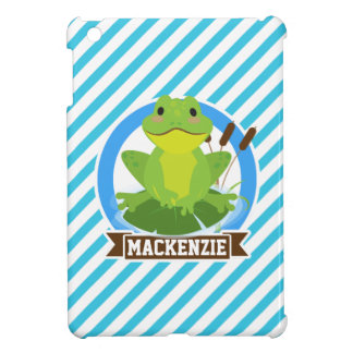 Green Frog on Lilypad; Blue & White Stripes Case For The iPad Mini