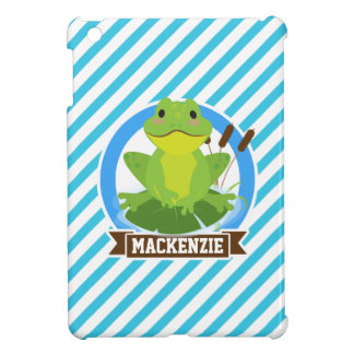 Green Frog on Lilypad; Blue & White Stripes Cover For The iPad Mini