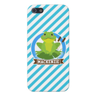 Green Frog on Lilypad; Blue & White Stripes iPhone 5 Cover