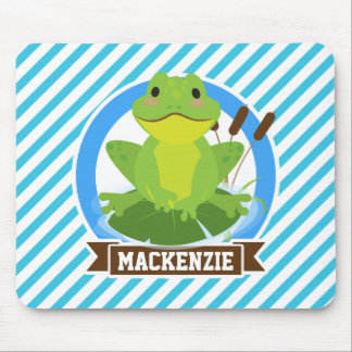 Green Frog on Lilypad; Blue & White Stripes Mousepads