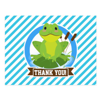 Green Frog on Lilypad; Blue & White Stripes Post Cards