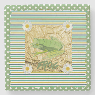 Green Frog on Sage and Teal Stripes Collage Stone Coaster