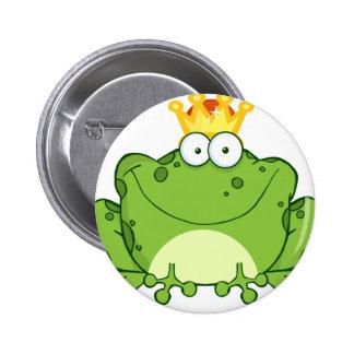 Green Frog Prince Cartoon Character 6 Cm Round Badge
