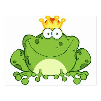 Green Frog Prince Cartoon Character Postcard