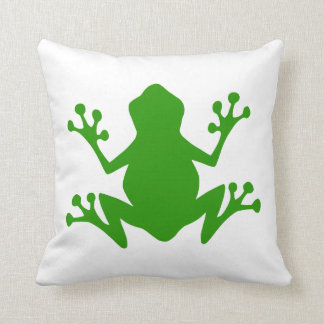 Green Frog Silhouette Cushion