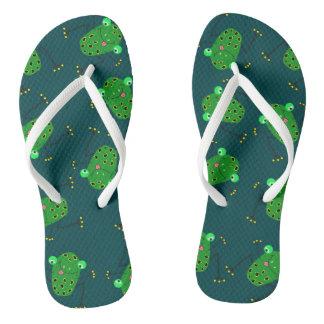 green frog texture flip flops