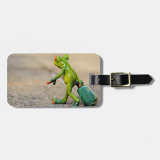 Green Frog with Suitcase Luggage Tag