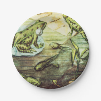 Green Frogs, Animal Illustration Paper Plate