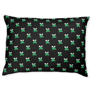 Green Frogs on Black Dog Bed