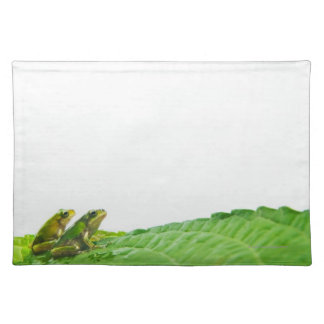 Green frogs on the leave placemat