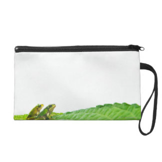 Green frogs on the leave wristlet