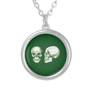 Green Front Side Human Skull Round Pendant Necklace