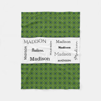 Green & Fun Floral w/Name Fleece Blanket