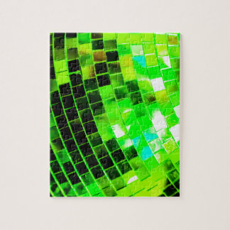 Green Funky Disco Ball Jigsaw Puzzle