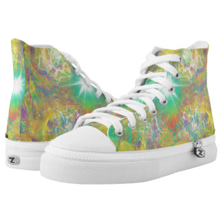 Green Funky Stars Yellow Abstract Art Design High Tops