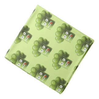 Green Funny Cartoon Broccoli Vegetarian Pattern Bandana