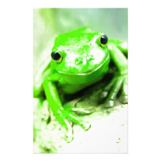 Green Funny Frog Personalized Stationery