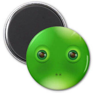 Green funny monster face 6 cm round magnet