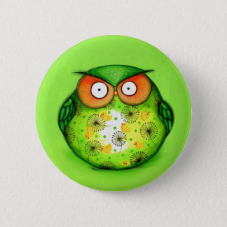 Green Funny Owl 6 Cm Round Badge